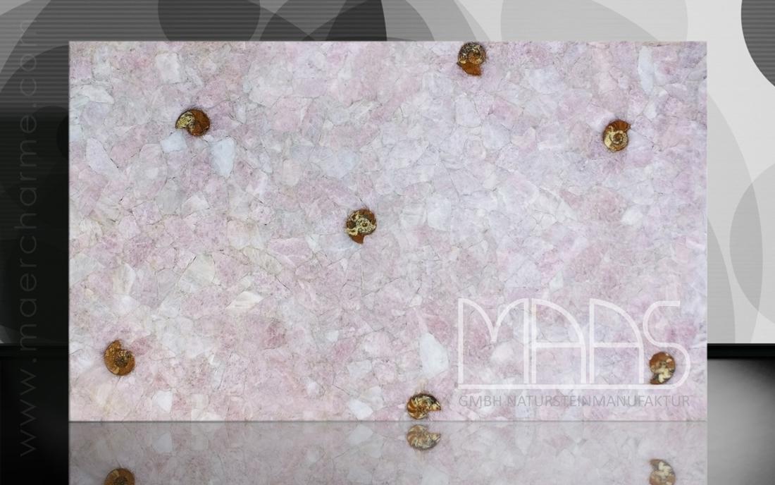 Rosenquarz mit Ammoniten Fensterbänke Preise